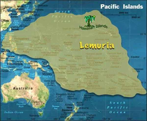 map ムー大陸、太平洋の巨大大陸伝説。