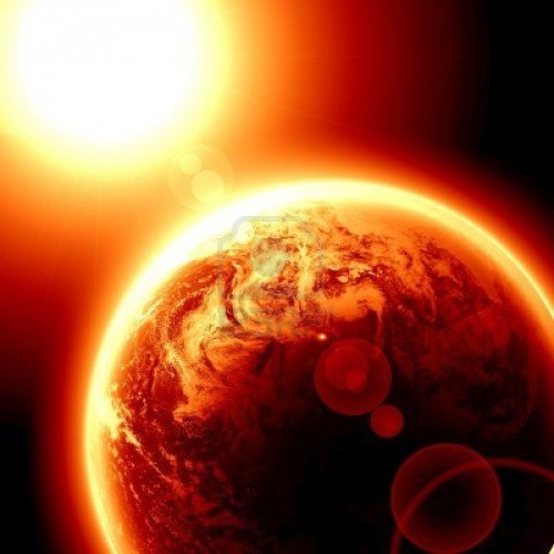 3195797 global warming red planet earth in outer space 500x500 2013年、世界の気温は観測史上2番目の高さになったことが判明。