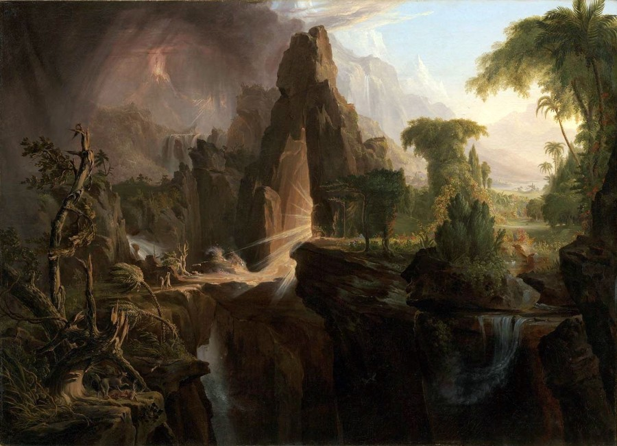 Cole Thomas Expulsion from the Garden of Eden 1828 900x651 エデンの園、聖書に登場する理想郷。