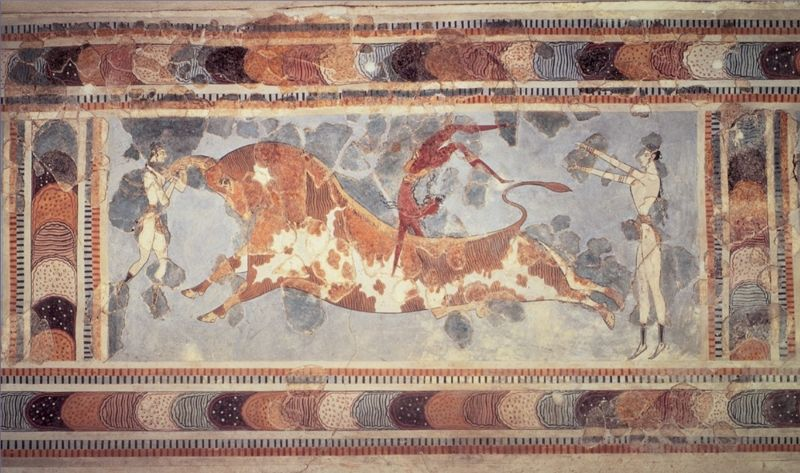 toreador fresco from the palace of knossos c 1400 bce1 クレタ島の迷宮、クノッソス宮殿。