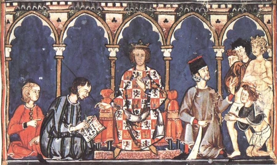 LibroDesJuegasAlfonXAndCourt 900x537 天使ラジエルの書。神の知識が書き写された写本。