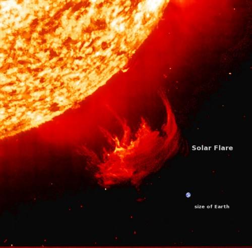 solar flare earth compared 500x491 巨大な太陽フレアが発生!地球が悪影響を受ける可能性も。