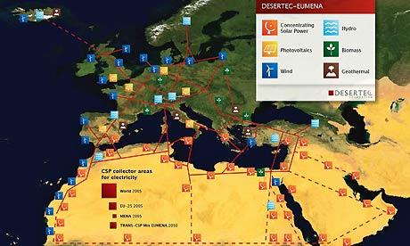 Desertec power map from S 001 イギリスに深刻な大気汚染が広がる!原因の一部はサハラ砂漠。