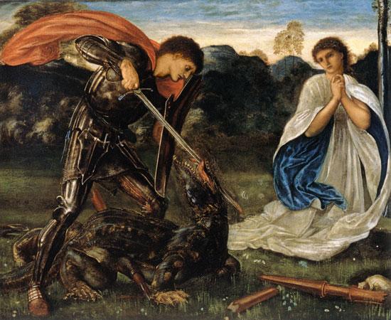Edward Burne Jones 聖ゲオルギオス、ドラゴン退治で有名なキリスト教布教の急先鋒。