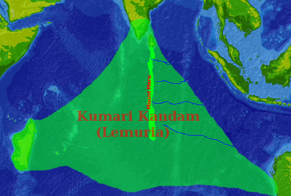 Kumari Kandam map レムリア大陸、インド洋の巨大大陸。