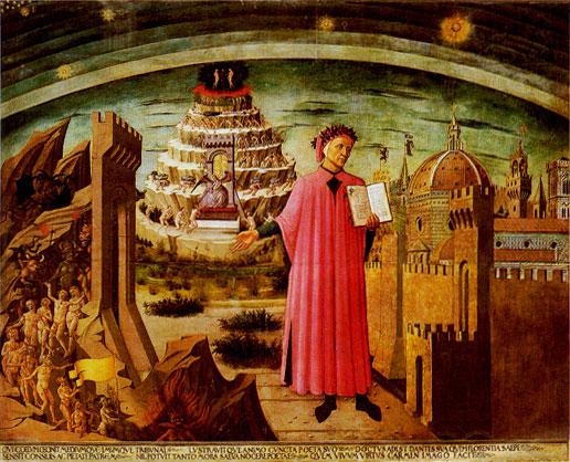 Michelino DanteAndHisPoem 天使たちは宇宙からやって来た。ダンテの唱えた説。