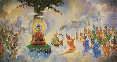 Tavatimsa 800px Buddha preaching Abhidhamma wikipedia 仏教にも天使が存在する?西洋だけではない神の使い。