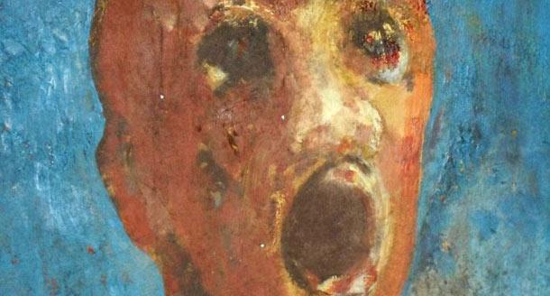 anguishedmanpainting もだえ苦しむ男。作者の血で描かれた不思議な絵。