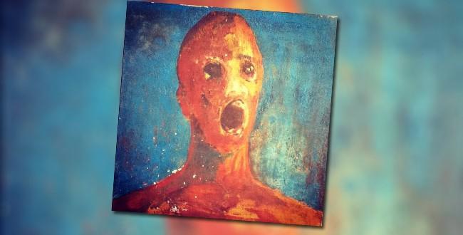 c10df8231a992c9475b341982ede58a0 もだえ苦しむ男。作者の血で描かれた不思議な絵。