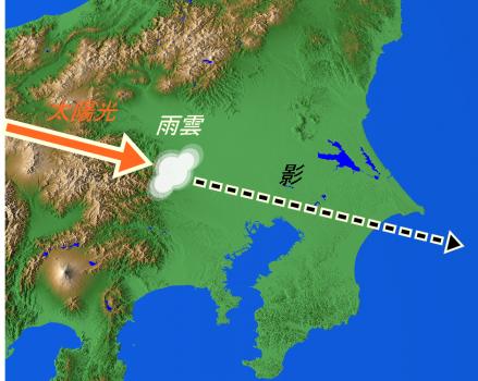 Kanto plain 雲の影が関東地方で観測される!